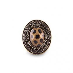 Low Price on Vintage Carved Faceted Gem Ring Leopard Big Horse Eye
