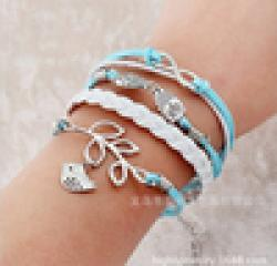 Low Price on Free shipping! 7 male female Bracelets & bangles wings manual multilayer bracelet and retro