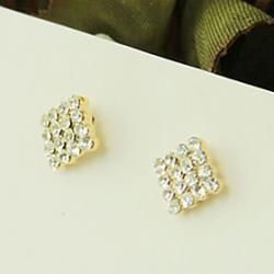 Low Price on Square -Crystal -Studded Earrings Earrings Korean Version Of The Temperament Bohemian Diamond Ear Clip E652