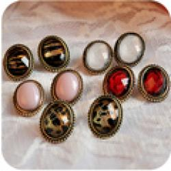 Low Price on OMH wholesale  12 pair off 40% = $0.36/pair EH23 fashion accessories sexy small vintage leopard print small oval stud earring 5g