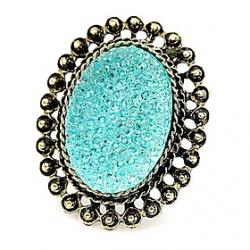 Low Price on Hot European and American retro candy colored gemstone rings hollow oval (random color)